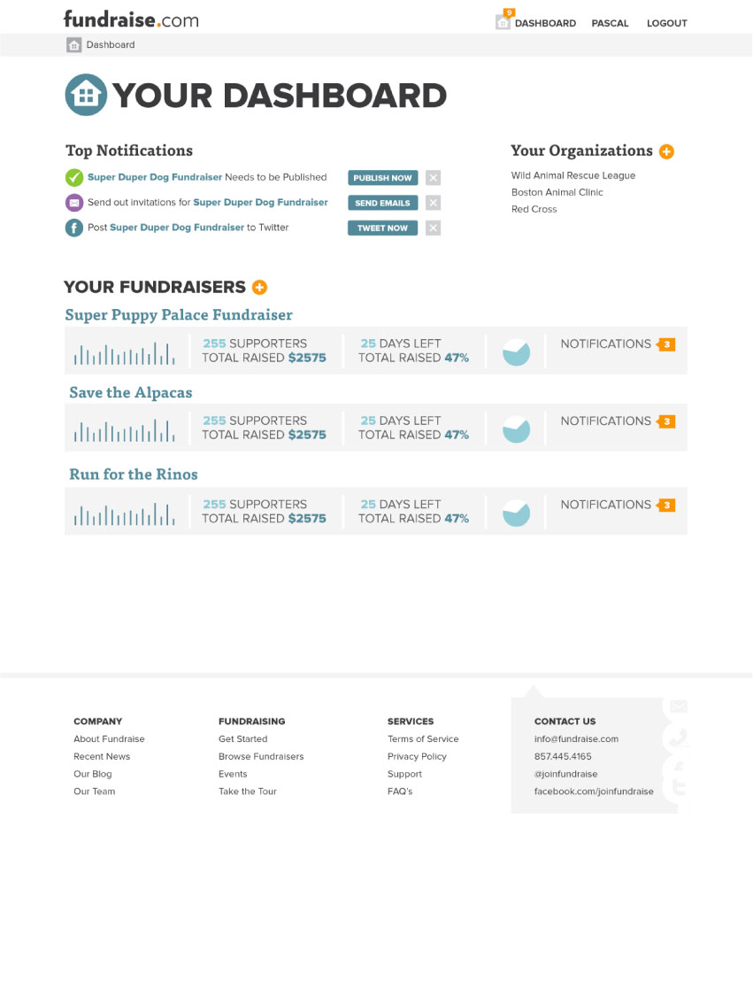 fundraise.com screen