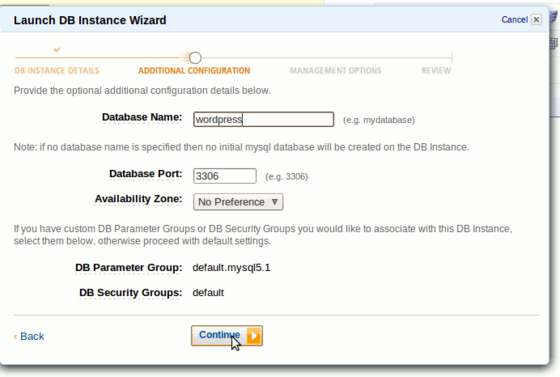 AWS Launch DB Instance Wizard step 2 - wordpress database