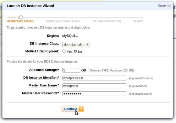 AWS Launch DB Instance Wizard